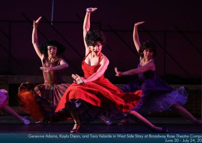 Genevive Adams, Kayla  Dixon and Tara Velarde in West Side Story at Broadway Rose Theatre Company. Photo by Liz Wade.