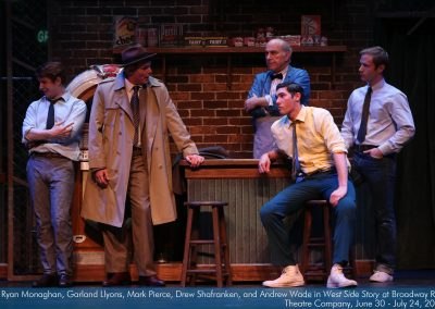 Ryan Monaghan, Garland Llyons, Mark Pierce, Drew Shafranken and Andrew Wade in West Side Story at Broadway Rose Theatre Company. Photo by Liz Wade.