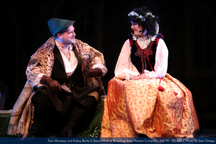 """Tom Mounsey and Kelsey Bentz in """"Snow White"""" at Broadway Rose Theatre Company, July 19 - 22, 2017. Photo by Sam Ortega."""