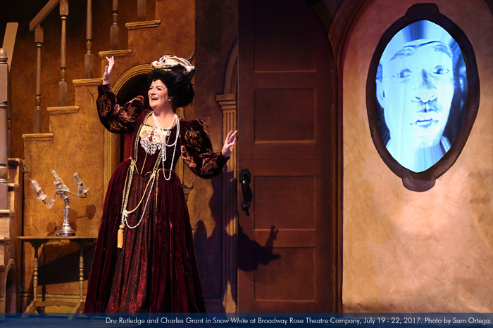 """Dru Rutledge and Charles Grant in """"Snow White"""" at Broadway Rose Theatre Company, July 19 - 22, 2017. Photo by Sam Ortega."""