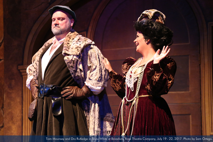 """Tom Mounsey and Dru Rutledge in """"Snow White"""" at Broadway Rose Theatre Company, July 19 - 22, 2017. Photo by Sam Ortega."""