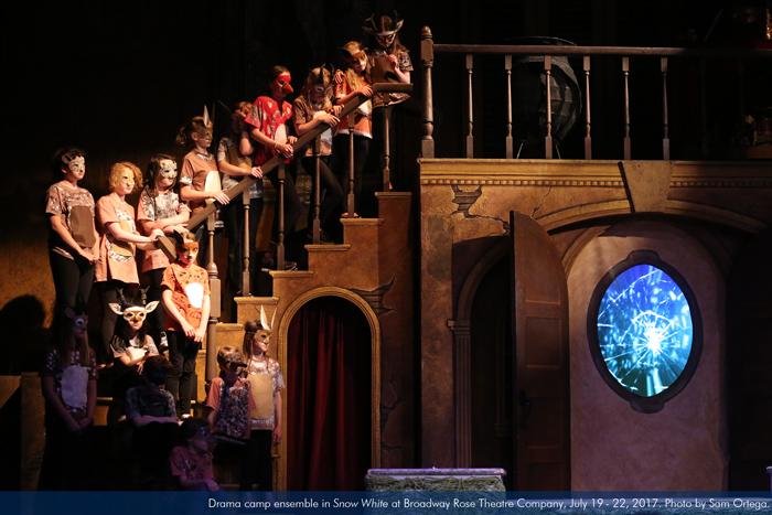 "Drama camp ensemble in ""Snow White"" at Broadway Rose Theatre Company, July 19 - 22, 2017. Photo by Sam Ortega."