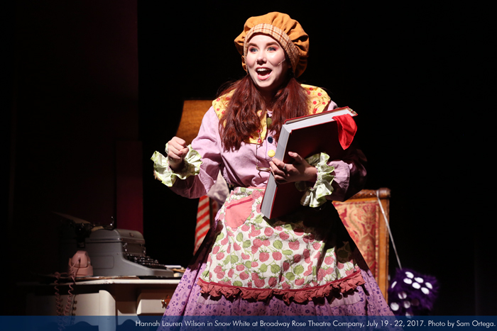 """Hannah Lauren Wilson in """"Snow White"""" at Broadway Rose Theatre Company, July 19 - 22, 2017. Photo by Sam Ortega."""