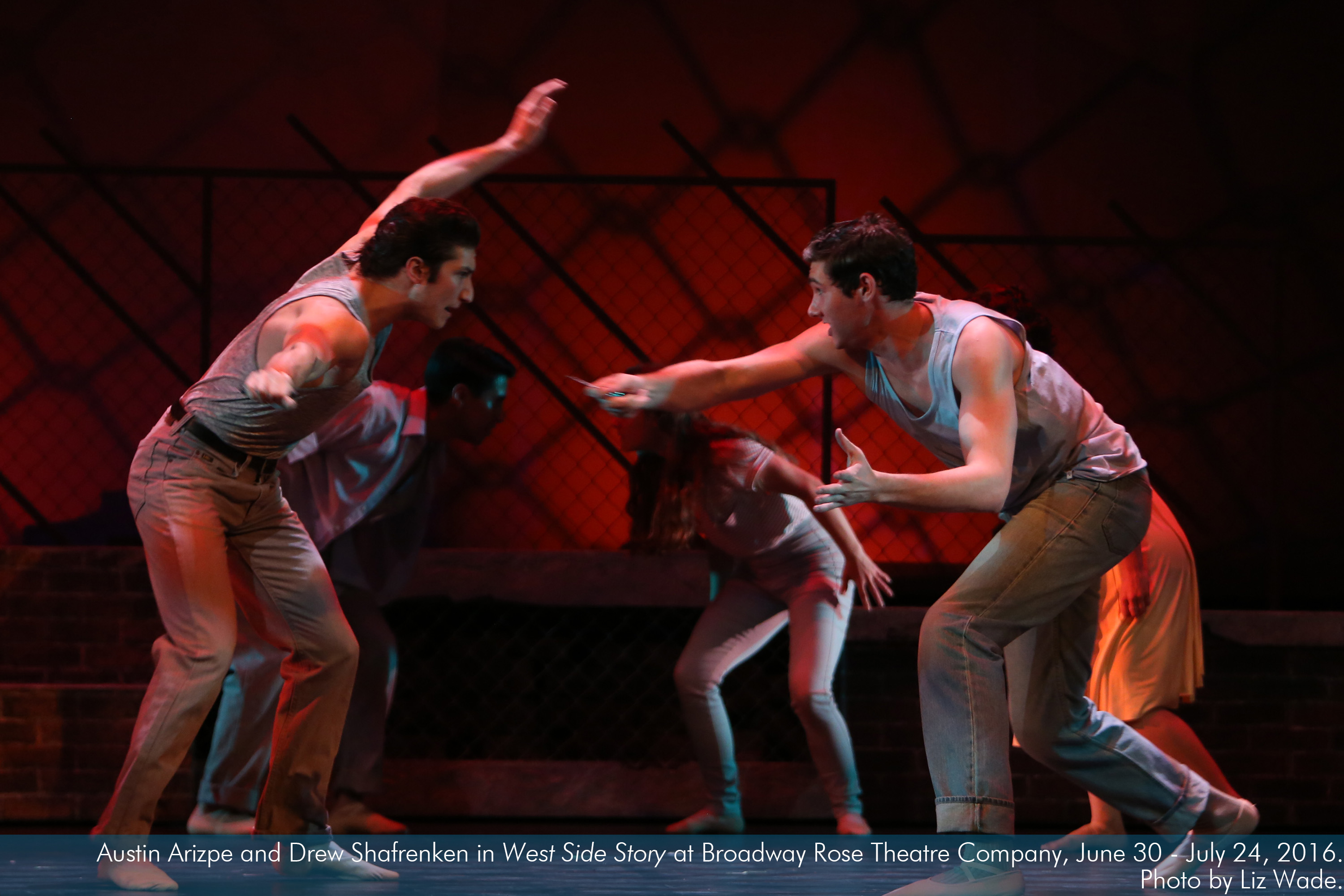 Austin Arizpe and Drew Shafranken in West Side Story at Broadway Rose Theatre Company. Photo by Liz Wade.