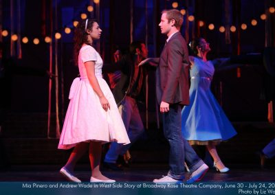 Mia Pinero and Andrew Wade in West Side Story at Broadway Rose Theatre Company. Photo by Liz Wade.
