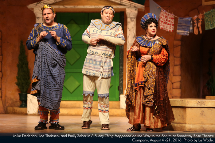 Mike Dederian, Joe Theissen, and Emily Sahler in A Funny Thing...Forum