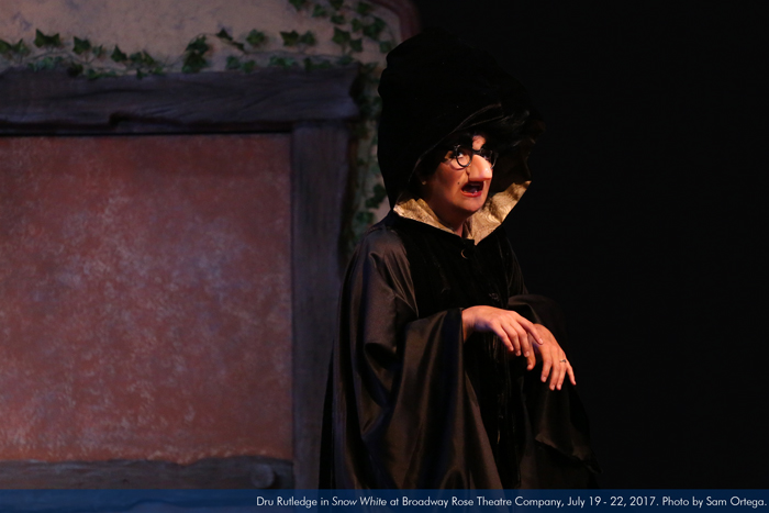 "Dru Rutledge in ""Snow White"" at Broadway Rose Theatre Company, July 19 - 22, 2017. Photo by Sam Ortega."