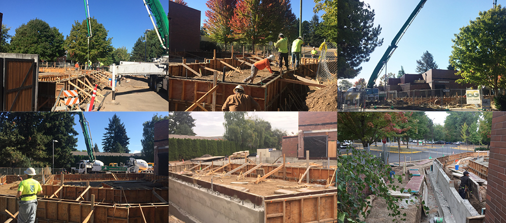 Photo collage of construction at the Broadway Rose New Stage